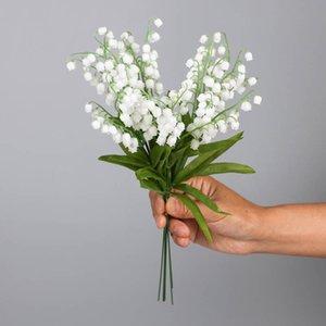 Simulation Lily The Valley Plastic Blume Einzelne Lily Das Tal Blume Kleine frische Handglocke Campanula Deko Kunststoff Fl