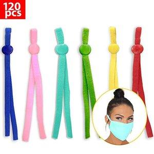 120PCS Máscara de costura elástico elástico Máscara malha Earloop Lanyard Earmuff Corda com ajustáveis Supplies Buckle DIY A07