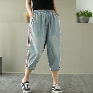 ppq68 Printed потерять джинсы упругого размера летом талии новых большие брюк Nv Shi Ku брюки женских щелевые Capri 2020 женских брюки