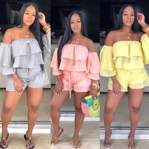 2019 women summer off shoulder cascading ruffles sleeve blouses top & shorts suit two piece set fashion beach tracksuit LD8341 X0923
