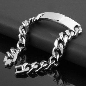 Joyería de los hombres ID pulsera cubana enlaza cadenas de plata pulido pulsera de acero inoxidable color de brazalete masculino al por mayor de accesorios