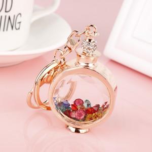 MQCHUN Fashion Trinket Rhinestone Perfume Bottle Keychain Colorful Crystal Keyring Car Key Ring Charm Women Handbag Key Chain