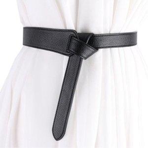 Женщины Пояс Пояс Рубашка способа платья партии украшения Сплошной цвет отдыха Knotted Waistband черный Pu Кожгалантерея
