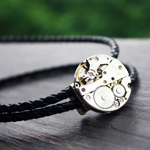 Steampunk Watch Movement Bolo Tie Leather And Polyester Rope Necklace Western Cowboy Men Chain Vintage Bow Tie Collar NZ119