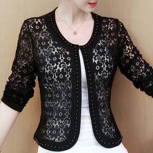 Women Jacket Long Sleeve black hollow lace fashion women's jackets 2020 Women coats and clothing B239