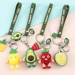 Cartoon Fruits Keychain Cute Strawberry Carrot Pineapple Watermelon Keychains For Women Men Key Chain Car Key Ring Jewelry Gifts