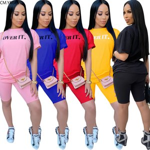 Women Sets Summer Tracksuits Sportswear Letter Print Tops+Shorts Suit Two Piece Set Club Party Street 2 Pcs Sexy Outfits GL112