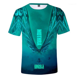 Версия для печати Mens Tshirts лето с коротким рукавом Экипаж шеи Мальчик Топы Мода Кино Мужские тройники Godzilla King Монстров