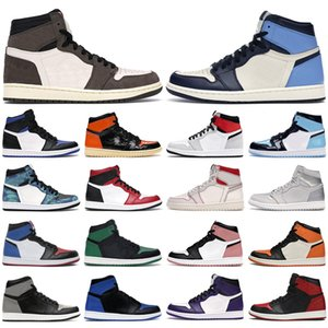 air retro 1 basketball shoes Zapatillas de baloncesto para hombre 1s high og Obsidian UNC to Chicago Green Travis Scott jumpman hombres mujeres zapatillas deportivas