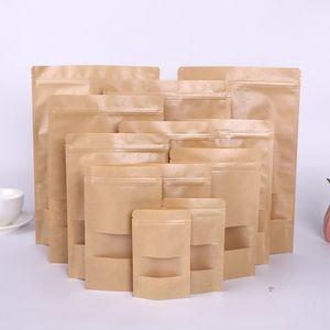 Kraftpapier-Tasche 12 Größen Stehen-Up-Geschenk Getrocknete Lebensmittel Obst-Tee-Verpackungsbeutel Kraftpapier-Fenster-Tasche Retail-Reißverschluss Selbstsiegel-Taschen