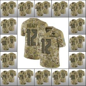 TampaBaiaBuccaneersMen # 12 Tom Brady 54 Lavonte David 13 Mike Evans Donne gioventù personalizzatoNFL Camo Salute to Servizio Jersey