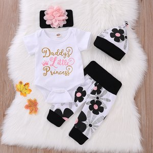 4PCS 2020 Toddler девочка Зимняя одежда осень Дети Girlymax Мода Ромпер Casual Cotton Полный печати O-Neck Regular