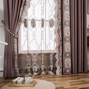 European-style Curtains for Living Dining Room Bedroom High-endLuxury Embroidered Flannel Curtain Finished Product Customization
