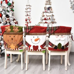 Christmas Chair Covers Dining Chair Covers Christmas Chair Back Cover Snowman Santa Claus Hat Slipcovers Decoration MY-inf0386