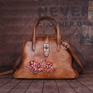 Dumpling Womens Type Embossed 2020 Vintage Leather Of Neo-Chinese Gust Wind Color Womens A High Wuubj Quality Full-Grain Hand-Rub Bag Thjbh
