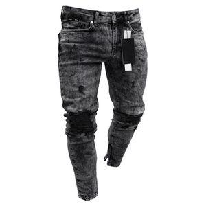 Los nuevos pantalones vaqueros de algodón hombres de la primavera de 2020 MenClothes Pantalones vaqueros apenada Freyed Slim Fit Casual pantalones del estiramiento pantalones vaqueros rasgados