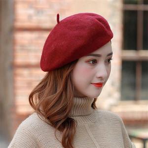 El nuevo sombrero señoras de las mujeres otoño e invierno de lana de Nueva sombrero de pintor del sombrero de calabaza femenina brotes japoneses retro boinas de lana beanies