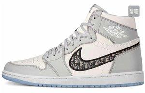 2020 Dior Oblique B23 B24 AJ 1 Air Low High Top com Kanye Moda Homme X KAWS por Kim Jones Casual Sports Shoes Basketball Sneakers
