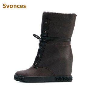 Newest Winter Warm Wool Height Increasing Women Boots Solid Platform Lace Up Wedge Botas 8CM High Heel Snow Boots Shoes Woman 41