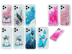 Unicorn líquido macio TPU Case para Iphone 12 Samsung A41 Huawei Lady Y7P Y6P Y5P Amor Quicksand Flor Sexy Girl Borboleta Bling Glitter Tampa