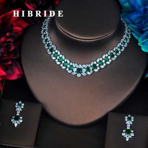 HIBRIDE Brand Beautiful Green Flower Shape Full Cubic Zirconia Dubai Jewelry Sets Women Wedding Bride Dress Accessories N-386