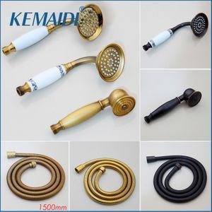 KEMAIDI Messinghandgriff Regen Spray Wasserspar Kopf für Bad-Accessoires Gold-Brauseschlauch aus Kunststoff Weiß 200925