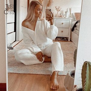 DressMeCB White Knitted Cardigan Two Piece Set Solid Buttons Long Sleeves Autumn Winter 2020 Set Latern Sleeve Casual Sport Sets