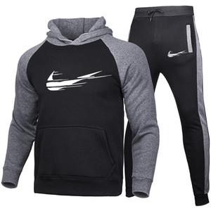 2020 lässige Sportswear Männer 2-teiligen Männer Kapuzenjacke und Hose Sportbekleidung Anzug Kapuze Trainingsanzüge Designermarke für den Winter