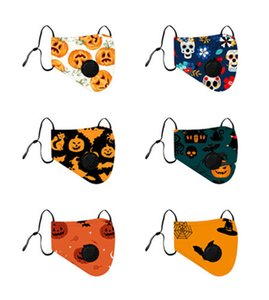New Halloween Masks for 2020 Reusable Painted Pumpkin Faces Cotton designer Masks reusable breathing valve masks for adults and children