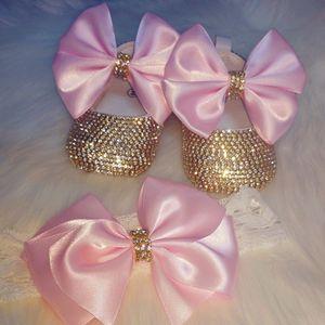 Joyas de corona pellizando personalizado suave rosa dorado ballerina bebé niña recién nacido foto cumpleaños 0-6m cuna zapatos itedband