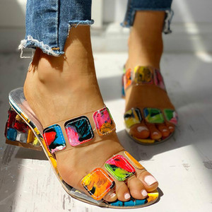 Hot Sale- Non-slip Women Slippers 4cm Heel MIX Color Rhinestone Fish Mouth Flat Sandals Outdoor Beach Office Female Candy Color Flip Flop