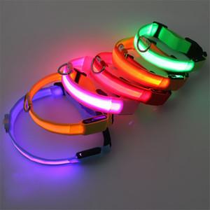 Coleira de cão LED recarregável S M L XL animais Noite Segurança Flashing colar com cabo de carregamento USB