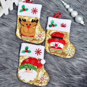 Bling Christmas Stockings Christmas Ornament Santa Snowman Figurine Sequin Small Gift Bag Knife Fork Cover Set For Home Party Dinner GWE1784