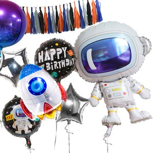 Outer Space Astronaut Earth Rocket Inflatable Foil Balloons Space Theme Birthday Party Decoration Kids Boys Toys Supplies