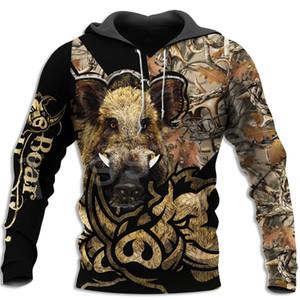 Tessffel Newest Boar Hunter Animal Hunting Camo Tattoo 3DPrint Pullover Newfashion streetwear Zip Sweatshirts Hoodies Jacket N-3 T200914