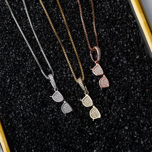Cross-border new micro-inlaid zircon hip-hop glasses pendant necklace jewelry factory direct wholesale