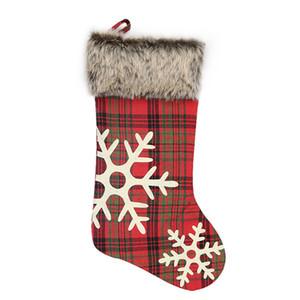 Kırmızı Noel Çorap Peluş kar tanesi Plaid Desen Çanta Süsler Şömine Şekil Duvarları Asma Hediye Çanta 9 2xd F2