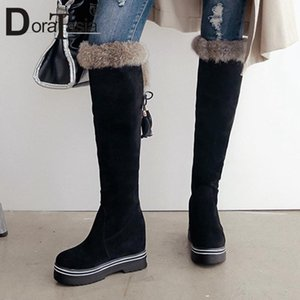 DORATASIA Big Size 34-43 Ladies Knee High Boots Fringe Boots Women 2020 Thick Sole Height Increasing High Heels Shoes Woman