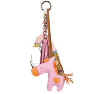 لطيف الأغنام فاخر الجلد لينة جلد طبيعي لطيف سلسلة الحصان سلسلة المفاتيح قلادة مفتاح الحيوان النساء على ظهره حقيبة سحر