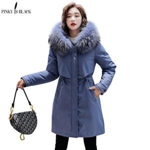 PinkyIsBlack 2020 neue warme Pelz-Futter Lang Parka Winterjacke Damen Bekleidung Medium lang plus Größe 6XL mit Kapuze Wintermantel Frauen