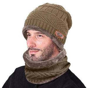 Men Warm Skullies Beanie + Soft Scarf Two-Piece Set Winter Thicken Hat Male Windproof Knitting Caps Neck Warmer