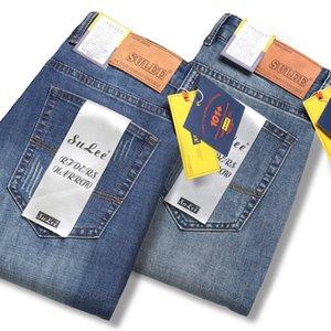 Sulee Markengeschäft Jeans Herbst Stretch dünne Denim-Hosen-Männer beiläufige Voll beiläufige Jeans