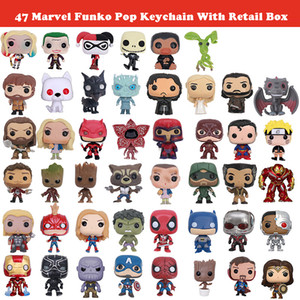 47 Marvel Funko Pop Keychain The Avengers herói Harley Quinn Deadpool Harry Potter Jogo dos Tronos Figurines Toy Porta-chaves com Retail Box