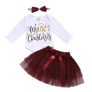 0-18M Christmas Newborn Baby Girl Clothes Sets Long Sleeve Romper Top+Mesh Tutu Skirt+Headwear 3PCS 2020 Xmas Outfits