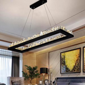 현대 크리스탈 펜 던 트 램프 철 블랙 크리스탈 샹들리에 빛 레스토랑 직사각형 샹들리에 조명 대형 LED 펜던트 조명을 걸려