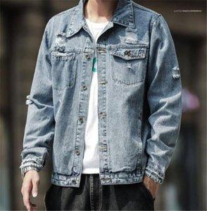 Jacken Lässige Männer Kleidung Loch Panelled Herren Designer Jean Jacken Mode Taschen und Knöpfen Panelled Herren Jean