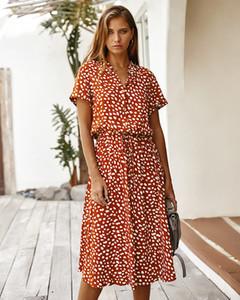 Дизайн одежды Amazon платья женские юбки 2020 лето польки с коротким рукавом воротник рубашки S-XL 2006