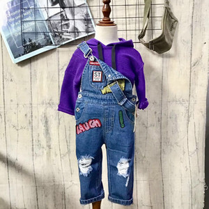 Children's overalls 100% cotton solid color printing ripped casual pants baby denim jumpsuit