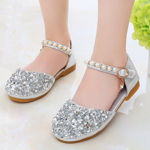 Toddler Baby Girls Sequins Pearls Bing Summer Sandals Leather Shoes Children Little Girls Wedding Party Dance Princess Shoes New