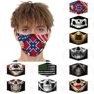 10 Halloween de style drapeau confédéré masque antipoussière bataille US Drapeau du Sud Drapeau bouche masque guerre civile Masque réglable DHF526